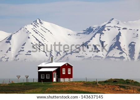House at a fjord of Iceland - stock photo