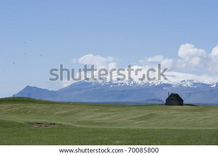 House at Bottom of Snaefellsjokull Peninsula, Iceland - stock photo