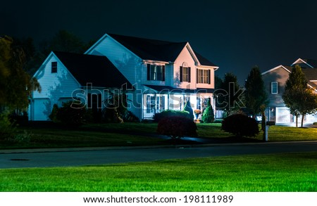 House at night, in Shrewsbury, Pennsylvania. - stock photo