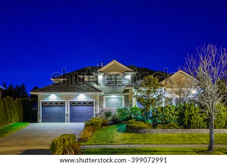 House at night in Vancouver, Canada. - stock photo