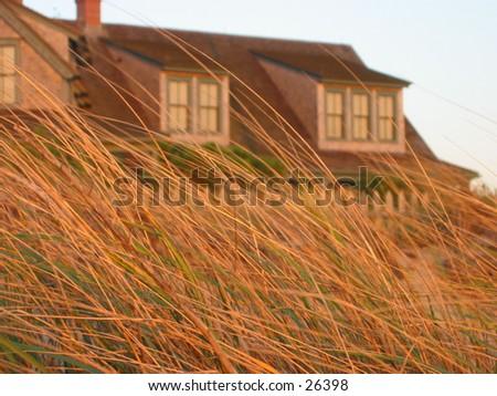house at sunrise - stock photo