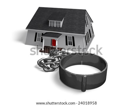House attached to a chain and shackle