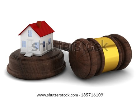 House auction concept. 3d illustration on white background  - stock photo