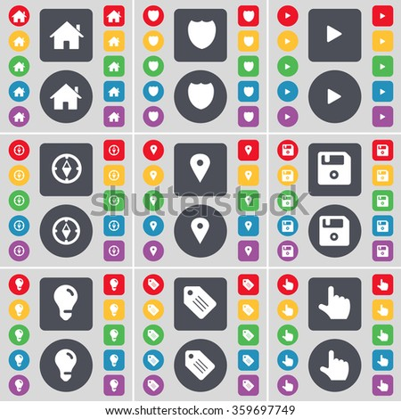 House, Badge, Media play, Compass, Checkpoint, Floppy, Light bulb, Tag, Hand icon symbol. A large set of flat, colored buttons for your design. illustration - stock photo