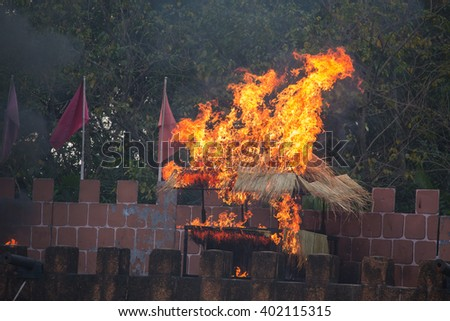 house be on fire - stock photo