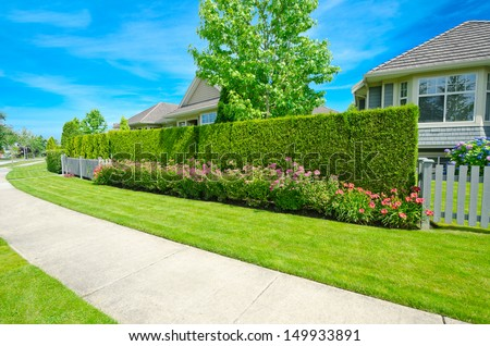 House behind the nicely trimmed green fence. Keeps privacy and security. Landscape trimming design. Trimmed fence and sidewalk at the empty street in the suburbs of Vancouver, Canada. - stock photo