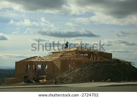 House being constructed on a hill - stock photo