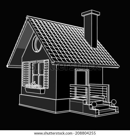 house. black cartoon illustration outline. High resolution 3D  - stock photo