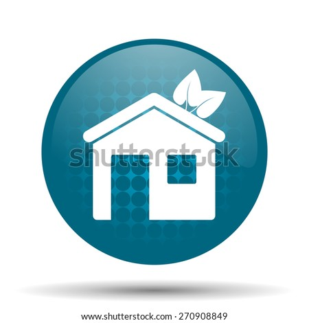 house blue glossy web icon  - stock photo