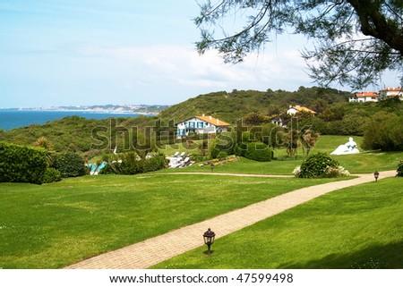 house, blue sky, beautiful view - stock photo