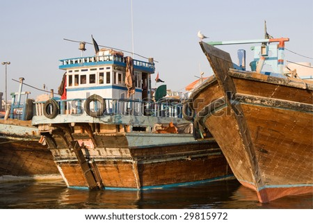 house boats in Dubai Creek - stock photo