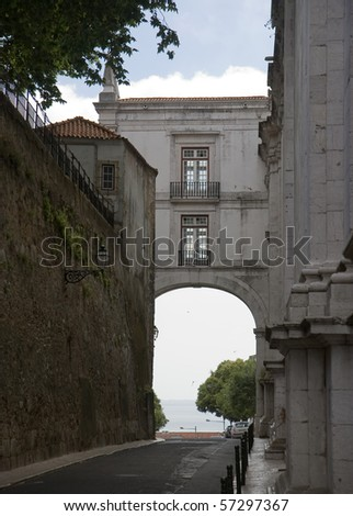 House bridge over street in Lisbon