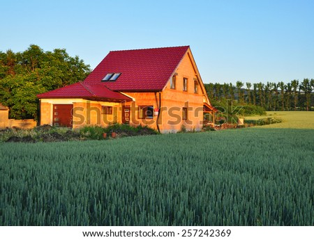 House building, real property, realty - stock photo