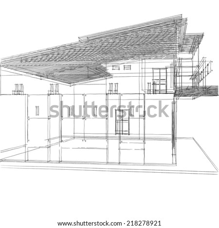 house building sketch on white background