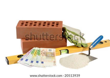 House building supplies and european currency - isolated on white background - stock photo