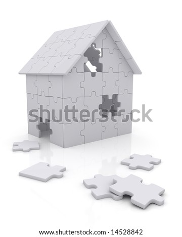 House built out of puzzle pieces - stock photo
