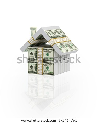 House built up with one hundred US dollar bills. Isolated on white background. - stock photo