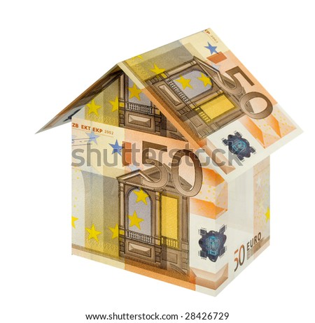 house built with euro bills, isolated on white - stock photo