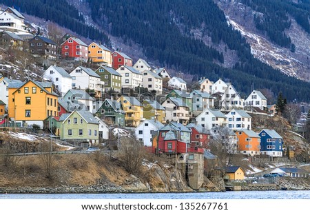 House by the fjord. Odda, Norway - stock photo