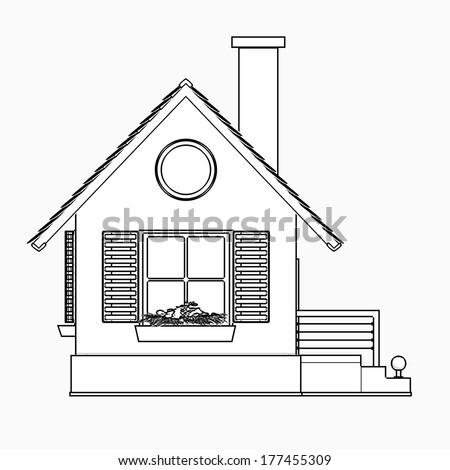 house. cartoon illustration outline. High resolution 3D  - stock photo