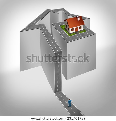 House challenge and home problem as a person on a difficult road shaped as a residence with a single family structure on top as a real estate metaphor for mortgage crisis or housing industry trouble. - stock photo