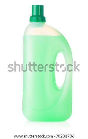 House cleaning product. Plastic bottle with detergent isolated on white background - stock photo