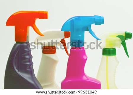 House cleaning product. Plastic bottles with detergent and liquid soap - stock photo