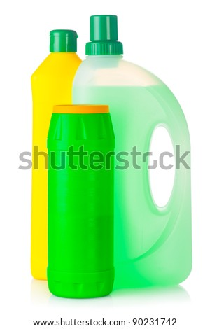House cleaning product. Plastic bottles with detergent isolated on white background - stock photo