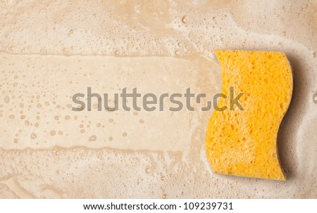 House cleaning with sponge - stock photo