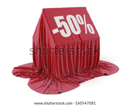 House -50% (clipping path included) - stock photo