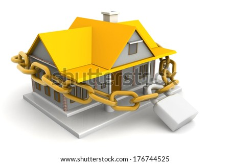 House closed in chain and padlock - stock photo