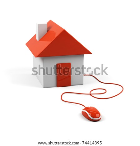 House connected to a computer mouse. 3d image. - stock photo