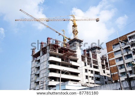 house construction and nice blue sky - stock photo