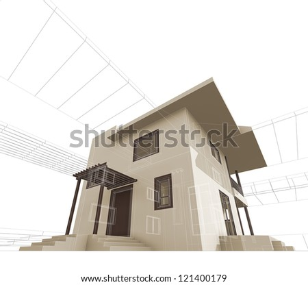 House construction. High quality 3d render - stock photo