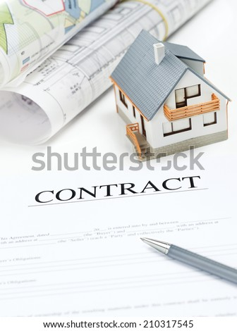 House contract Contract, Blueprints and Model house