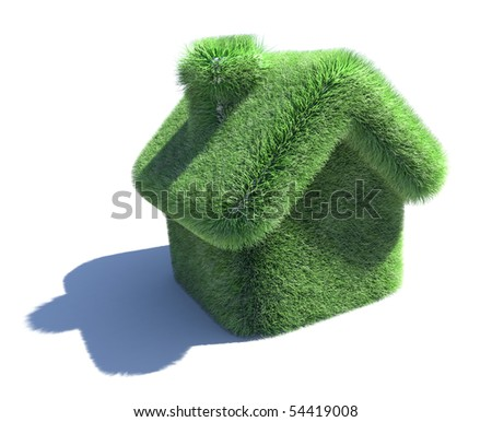 House covered with grass. 3d eco concept isolated on white - stock photo
