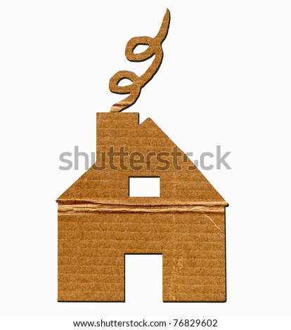 House Cut Out Of Cardboard With Smoke Coming Out Of Chimney On White Background - stock photo