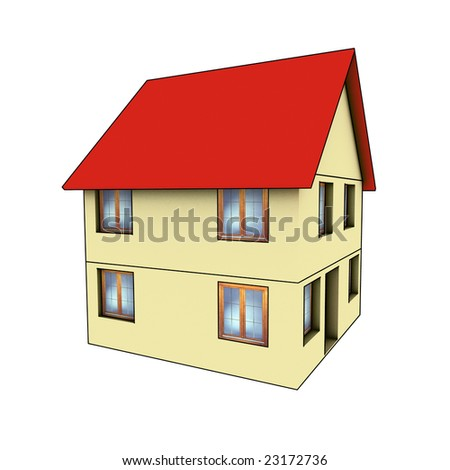 house - 3d render isolated illustration on white