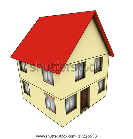 house - 3d render isolated illustration on white background