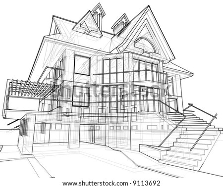house: 3d technical draw - stock photo