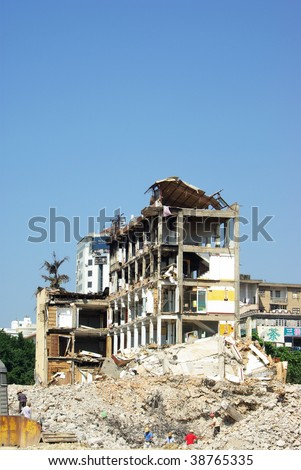 House demolition - stock photo