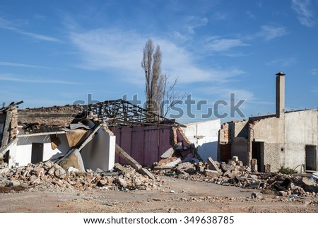 House demolition. Ruin of a old demolished house. - stock photo