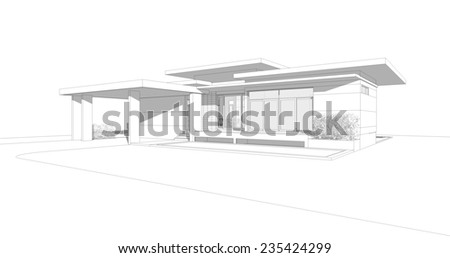 House Design, Architecture Drawing - stock photo