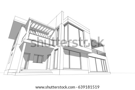 House Design Sketch 3d Illustration