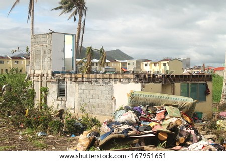 House destroyed by a typhoon - stock photo