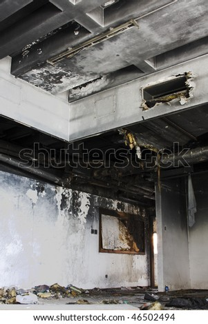 house destroyed by fire. - stock photo