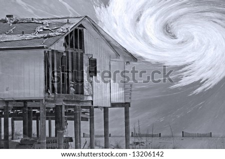 House destroyed by hurricane with storm overlay - stock photo