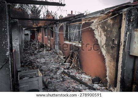 House destroyed in fire - stock photo