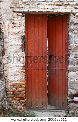 House detail in historic town of San Miguel de Allende, Guanajuato, Mexico. - stock photo