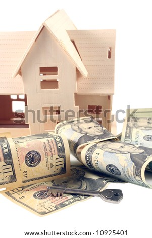House, different dollar bills and key - stock photo